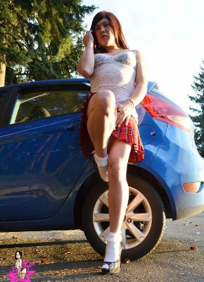 Shemale Beside Car